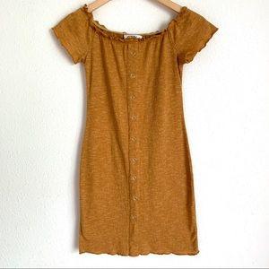 LF Seek the label mustard off shoulder mini dress